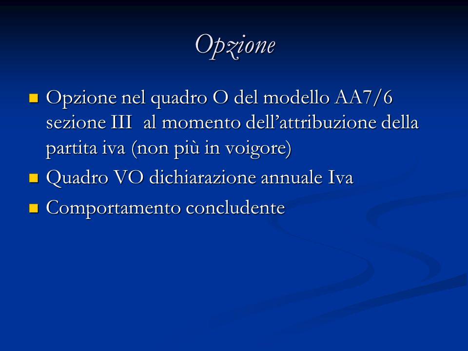 Opzione Opzione nel quadro O del modello AA7/6 sezione III al momento dell'attribuzione della partita iva (non più in voigore)