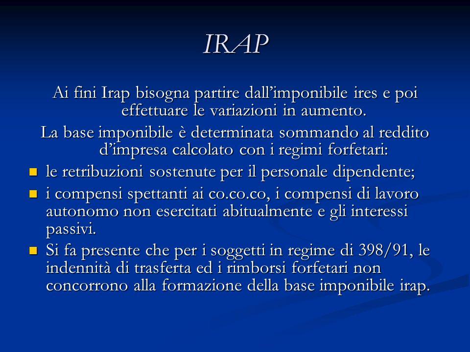 IRAP Ai fini Irap bisogna partire dall'imponibile ires e poi effettuare le variazioni in aumento.
