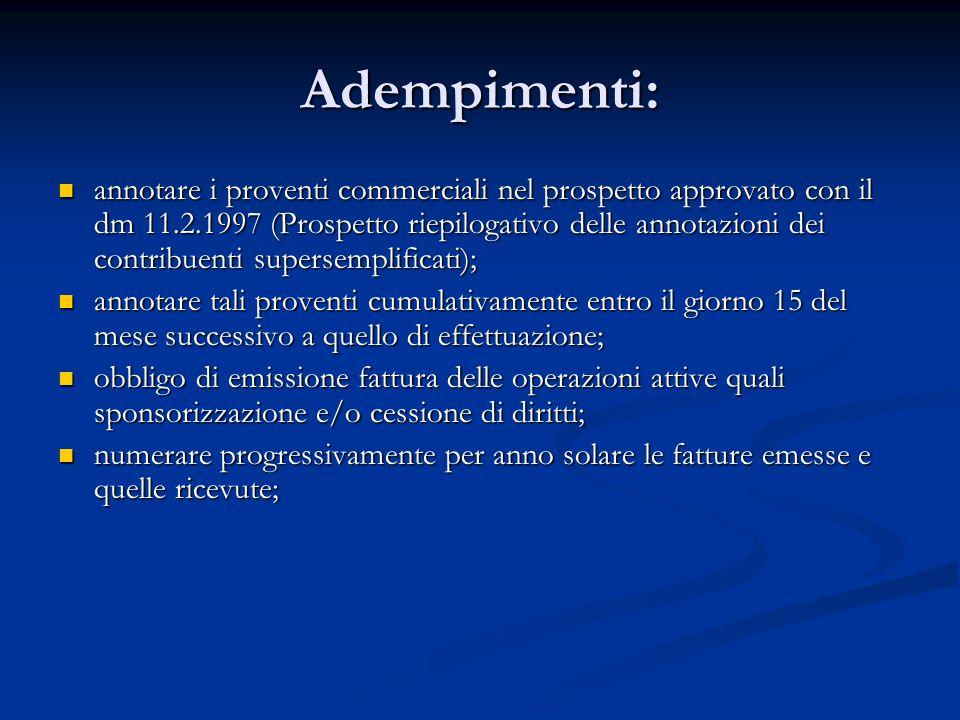 Adempimenti: