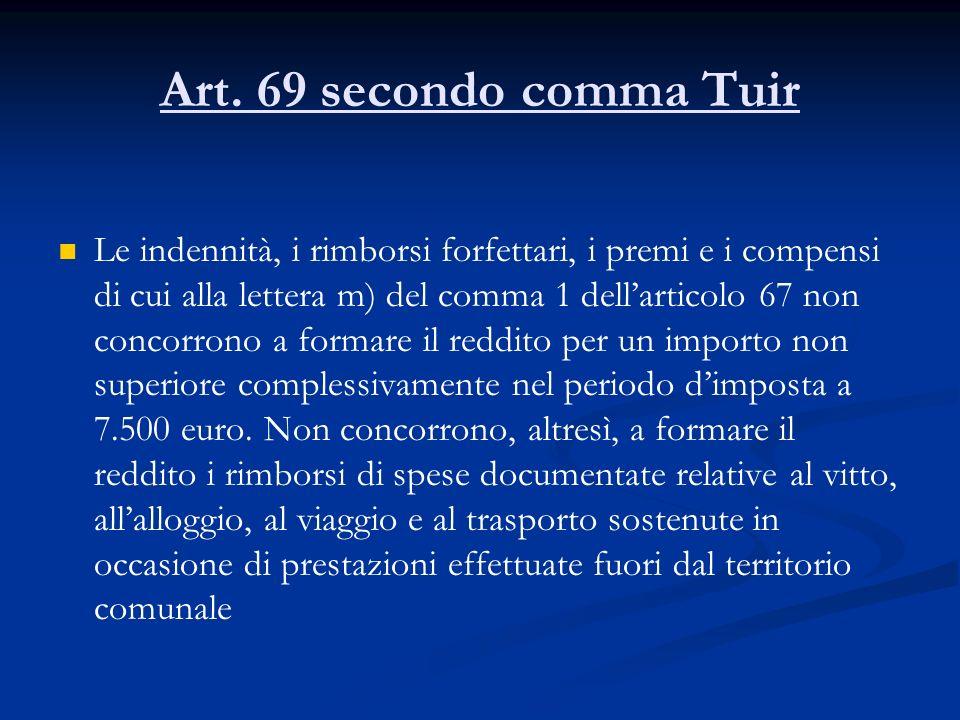 Art. 69 secondo comma Tuir