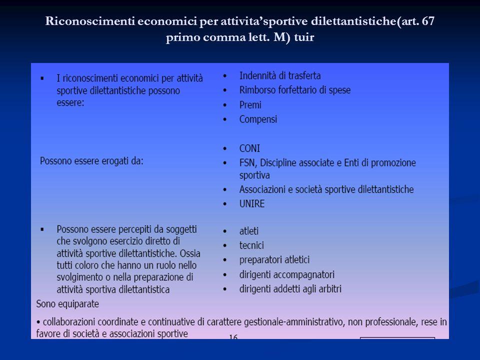 Riconoscimenti economici per attivita'sportive dilettantistiche(art