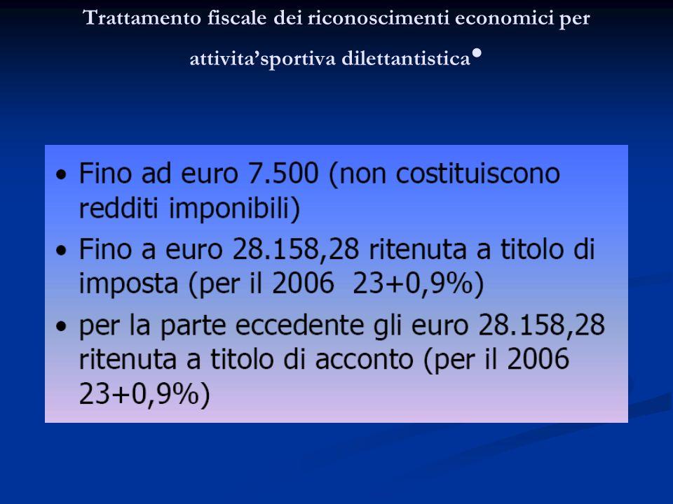 Trattamento fiscale dei riconoscimenti economici per attivita'sportiva dilettantistica•