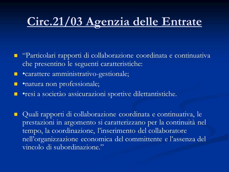 Circ.21/03 Agenzia delle Entrate