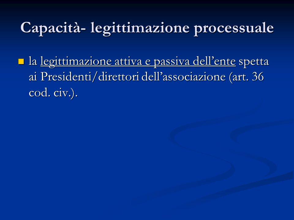Capacità- legittimazione processuale