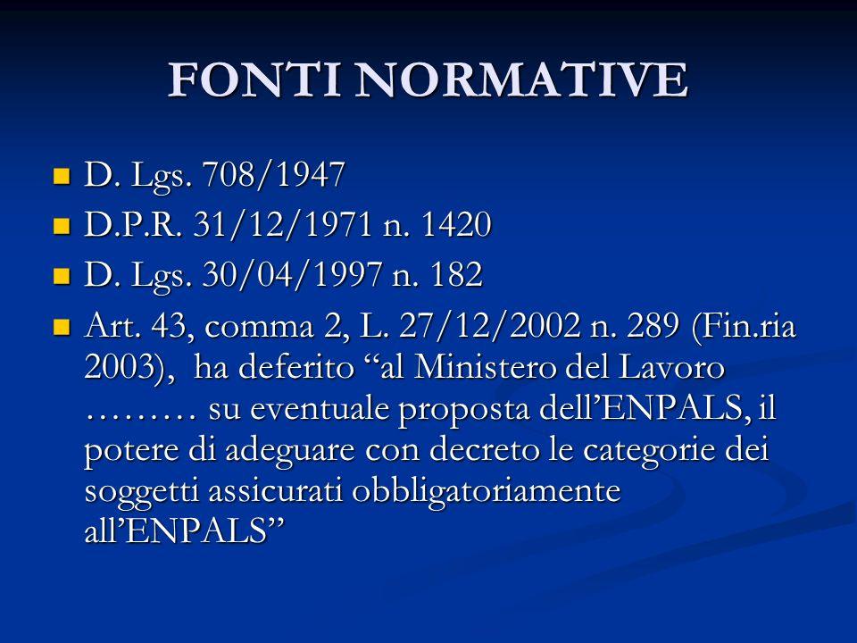 FONTI NORMATIVE D. Lgs. 708/1947 D.P.R. 31/12/1971 n. 1420