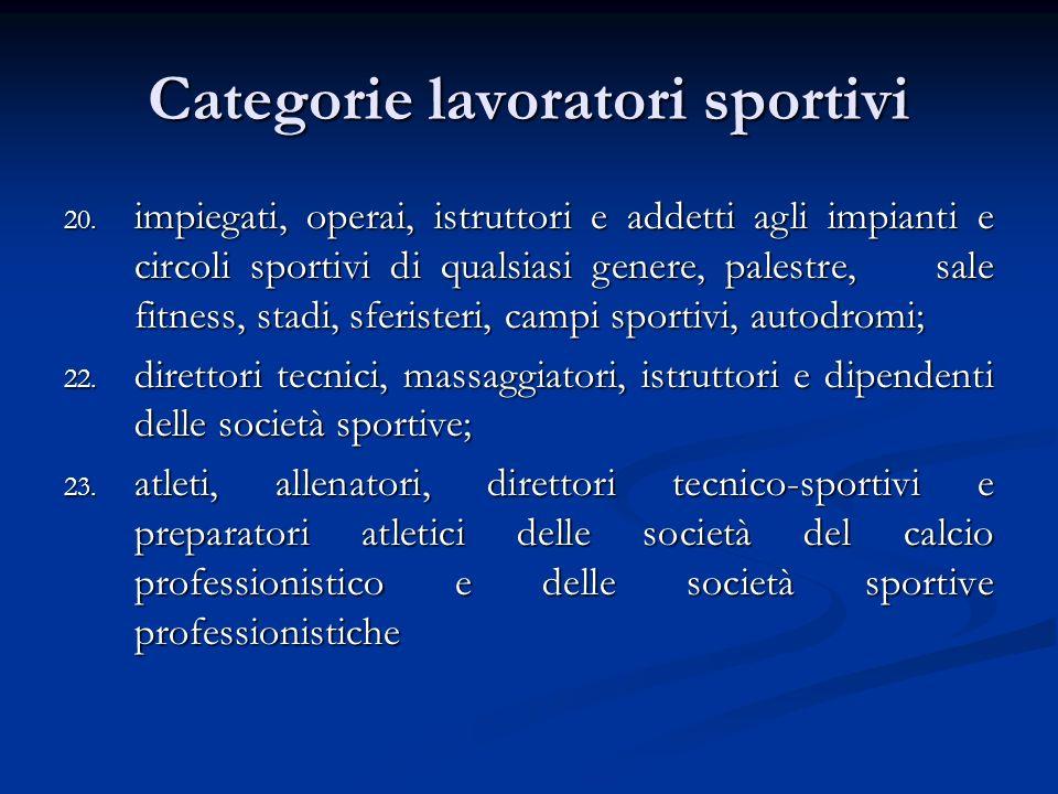 Categorie lavoratori sportivi