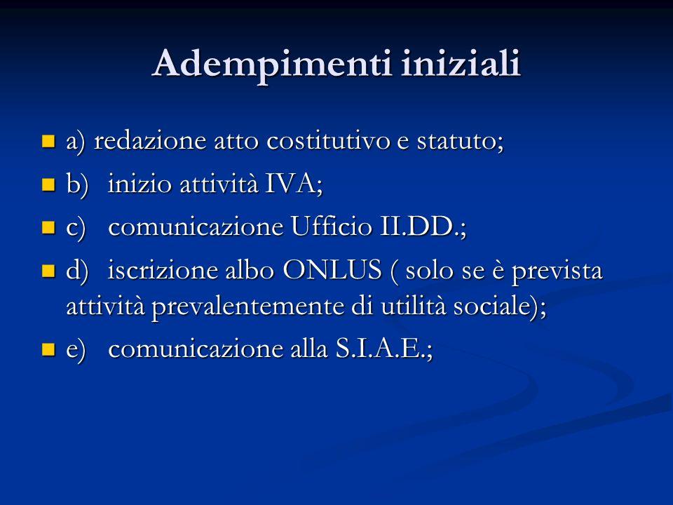 Adempimenti iniziali a) redazione atto costitutivo e statuto;
