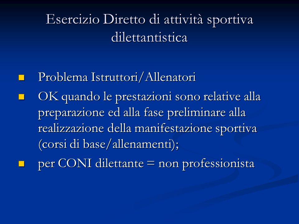 Esercizio Diretto di attività sportiva dilettantistica