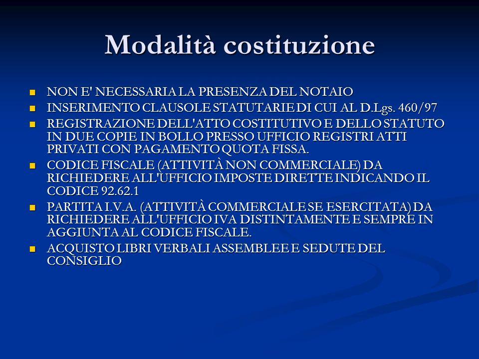 Modalità costituzione