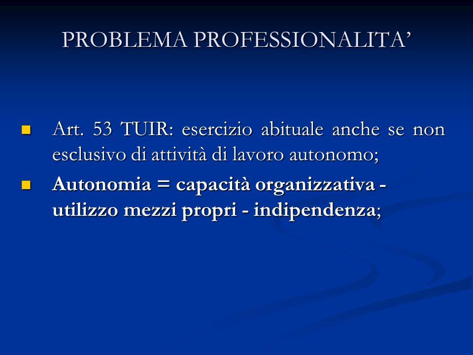 PROBLEMA PROFESSIONALITA'