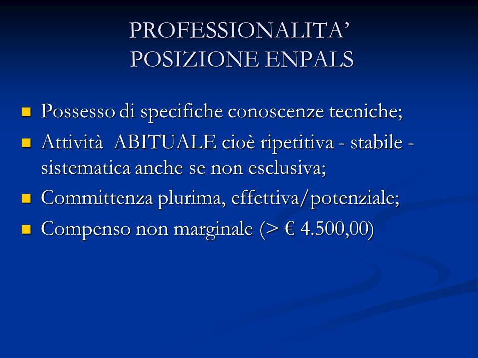 PROFESSIONALITA' POSIZIONE ENPALS