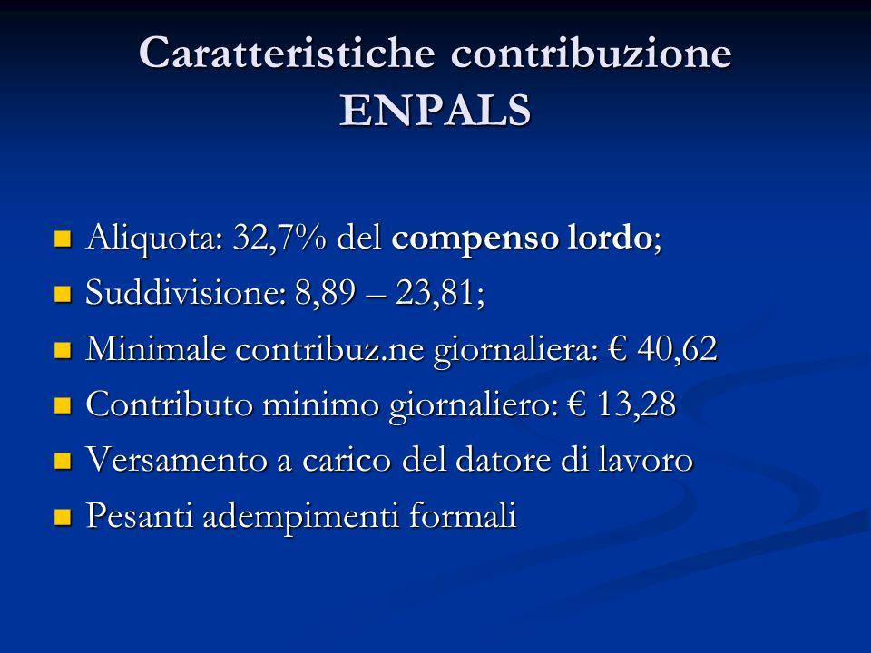 Caratteristiche contribuzione ENPALS