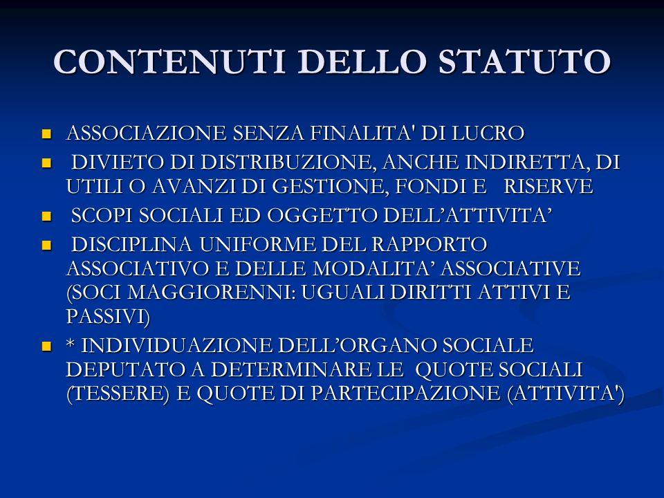 CONTENUTI DELLO STATUTO