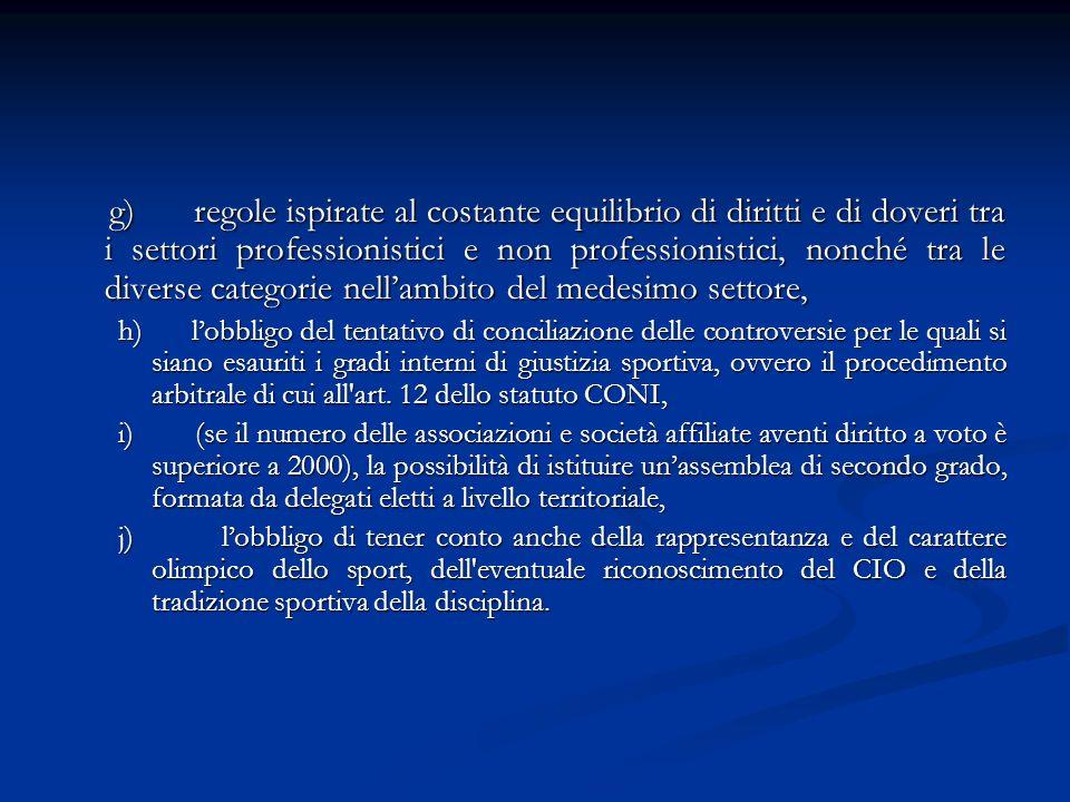 g) regole ispirate al costante equilibrio di diritti e di doveri tra i settori professionistici e non professionistici, nonché tra le diverse categorie nell'ambito del medesimo settore,