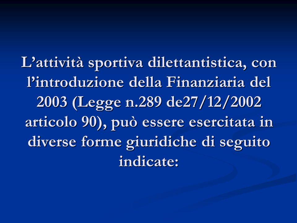 L'attività sportiva dilettantistica, con l'introduzione della Finanziaria del 2003 (Legge n.289 de27/12/2002 articolo 90), può essere esercitata in diverse forme giuridiche di seguito indicate: