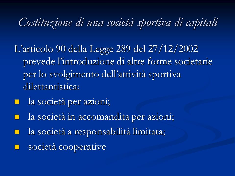 Costituzione di una società sportiva di capitali