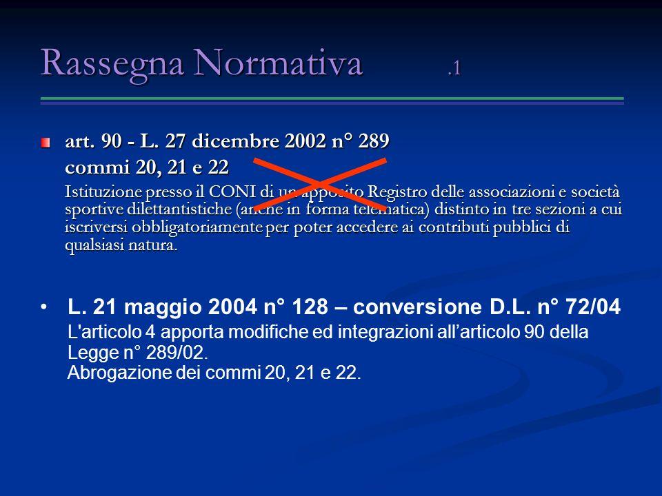 Rassegna Normativa .1 art. 90 - L. 27 dicembre 2002 n° 289