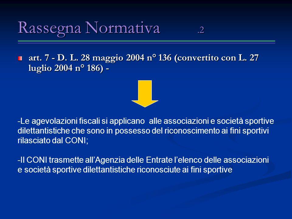 Rassegna Normativa .2 art. 7 - D. L. 28 maggio 2004 n° 136 (convertito con L. 27 luglio 2004 n° 186) -