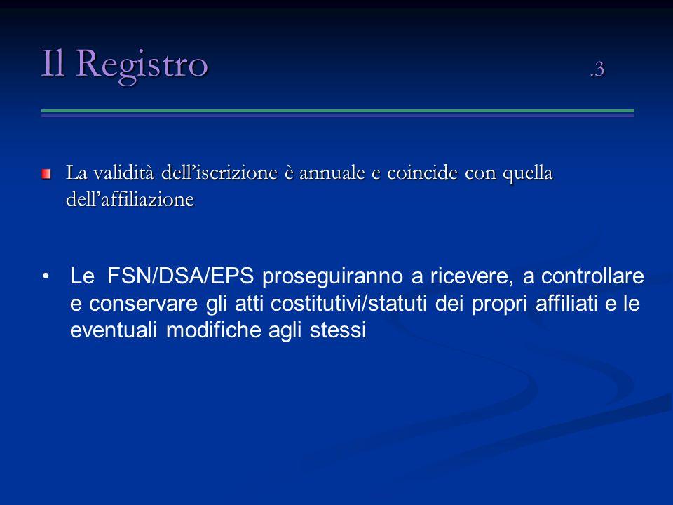Il Registro .3 La validità dell'iscrizione è annuale e coincide con quella dell'affiliazione.