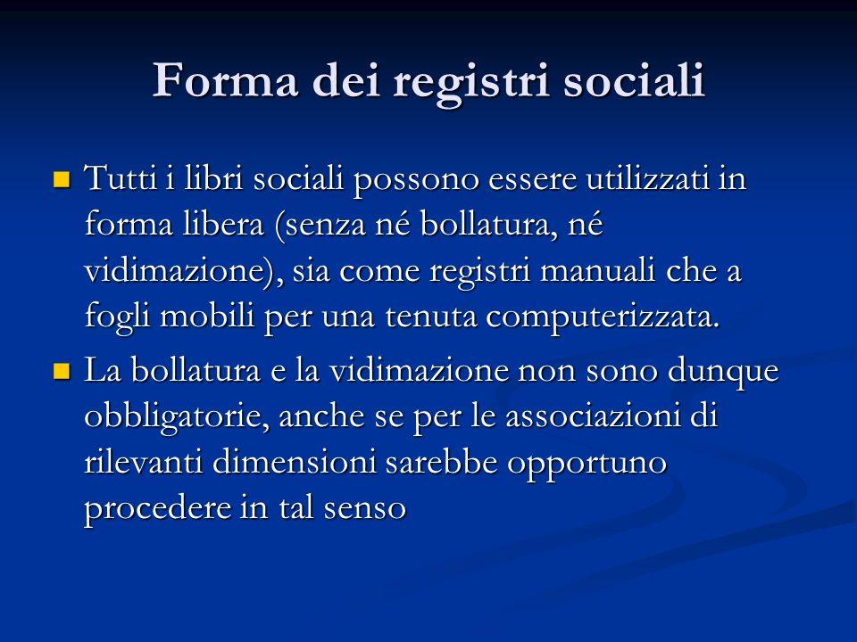 Forma dei registri sociali