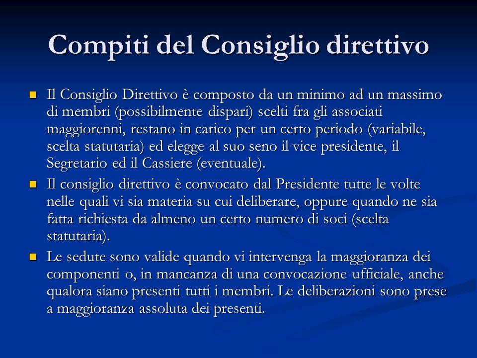Compiti del Consiglio direttivo
