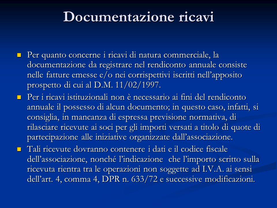 Documentazione ricavi