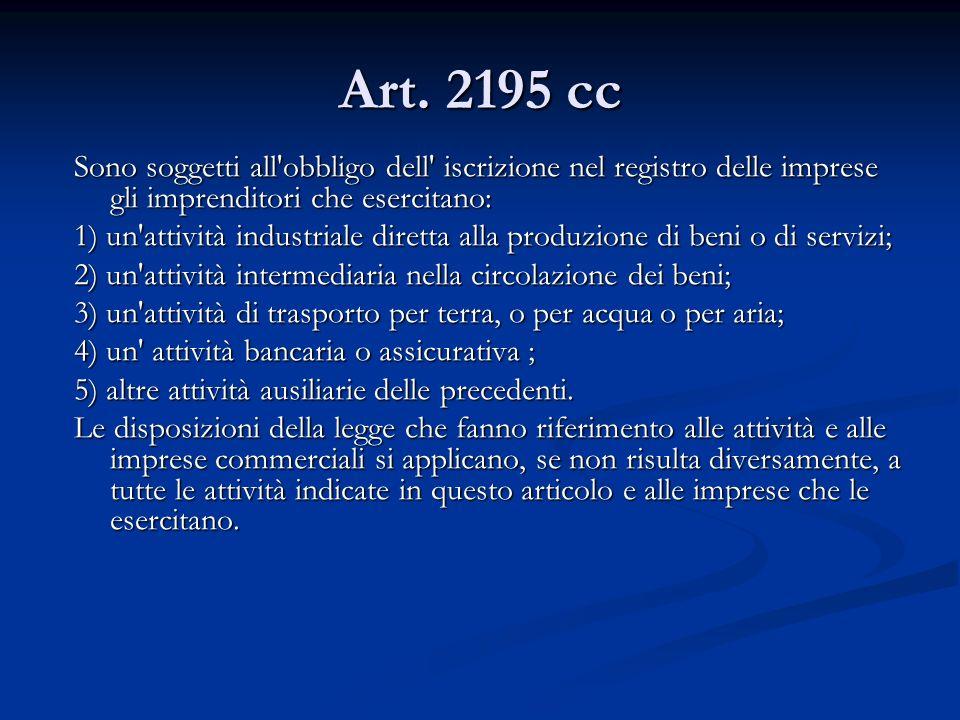 Art. 2195 cc Sono soggetti all obbligo dell iscrizione nel registro delle imprese gli imprenditori che esercitano: