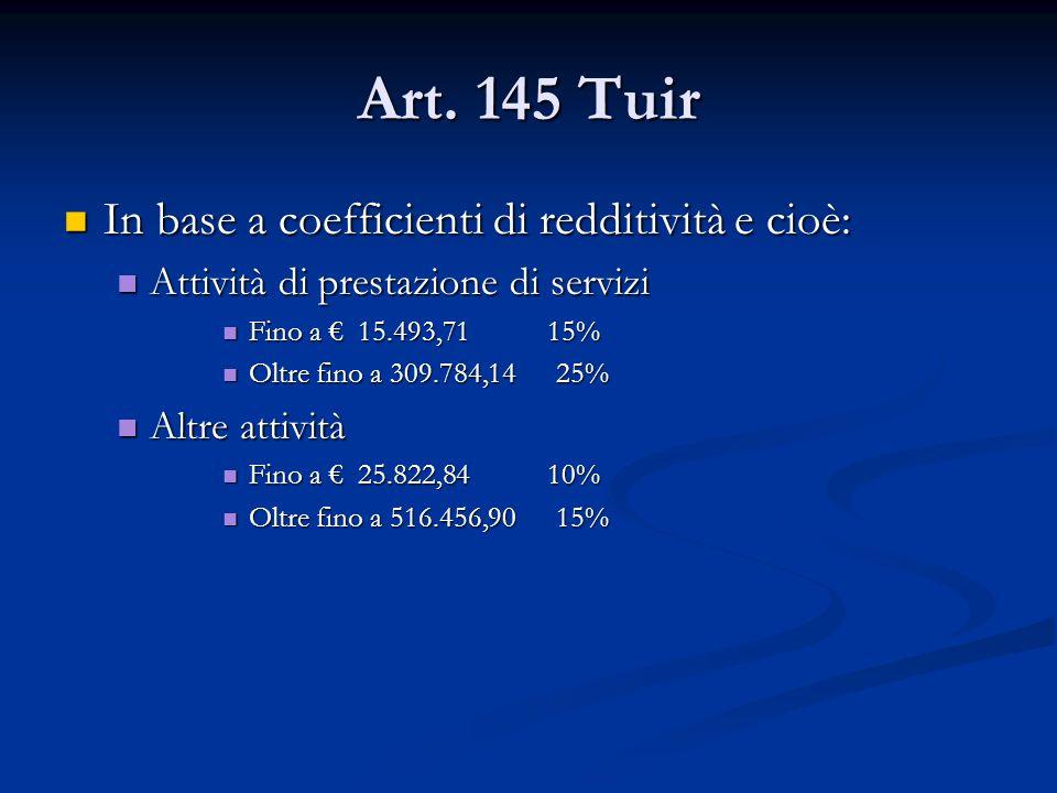 Art. 145 Tuir In base a coefficienti di redditività e cioè: