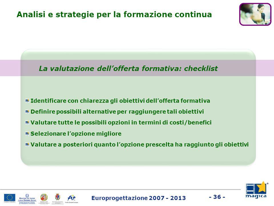 La valutazione dell'offerta formativa: checklist