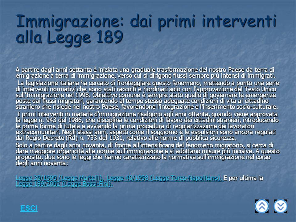 Immigrazione: dai primi interventi alla Legge 189
