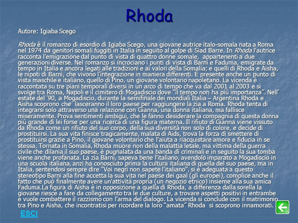 Rhoda ESCI Autore: Igiaba Scego