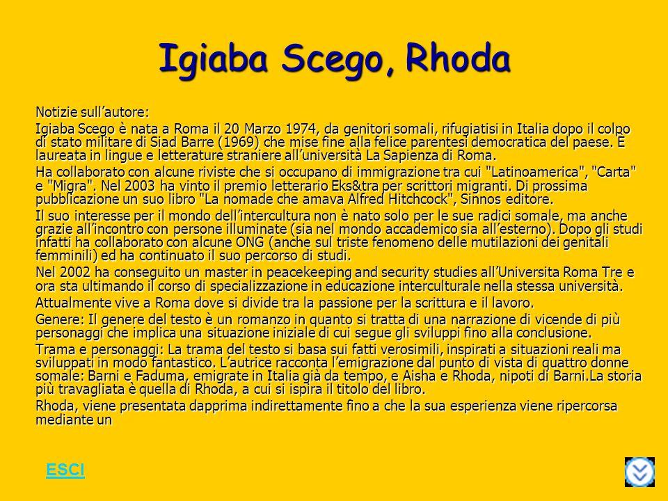 Igiaba Scego, Rhoda ESCI Notizie sull'autore: