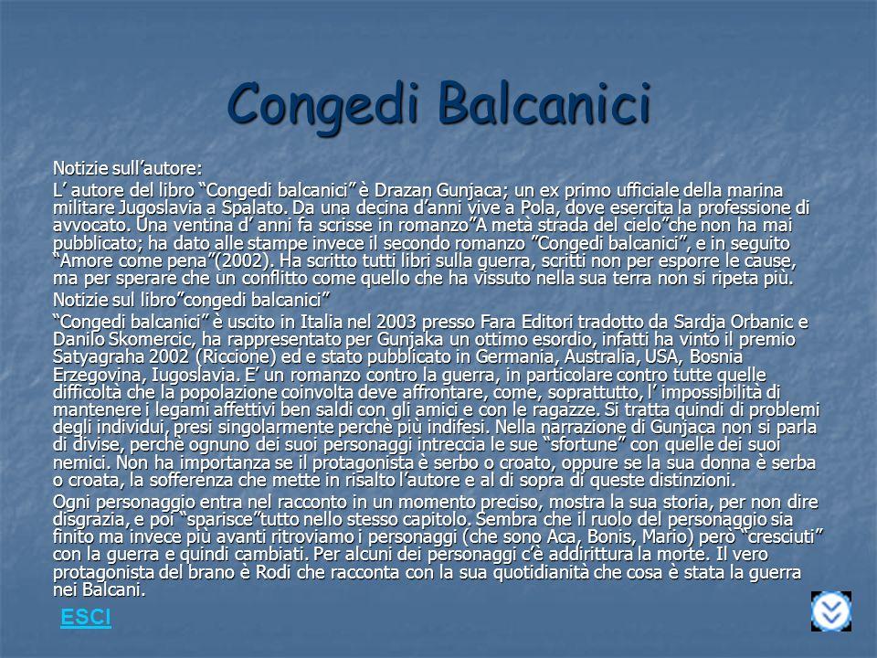 Congedi Balcanici ESCI Notizie sull'autore: