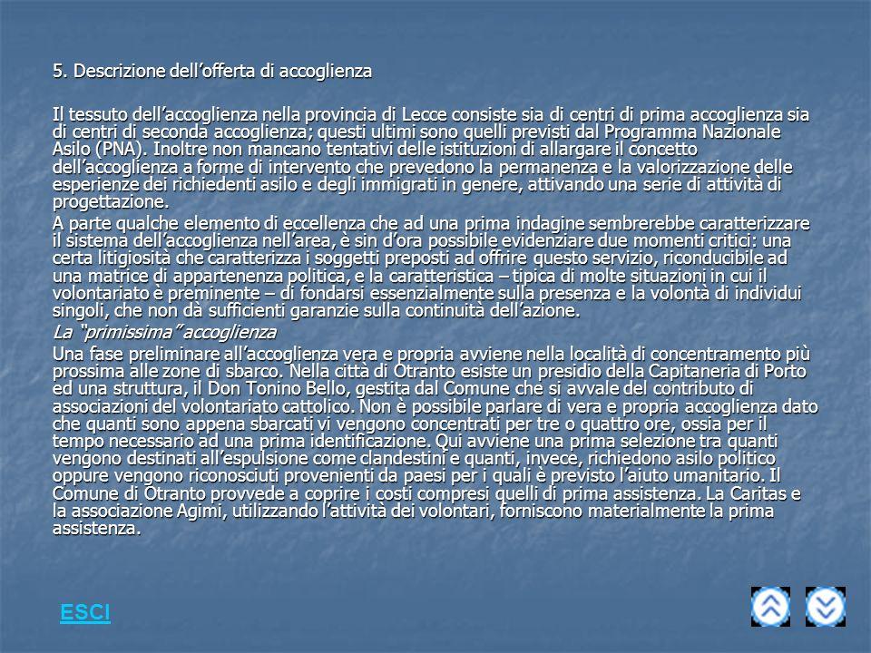ESCI 5. Descrizione dell'offerta di accoglienza