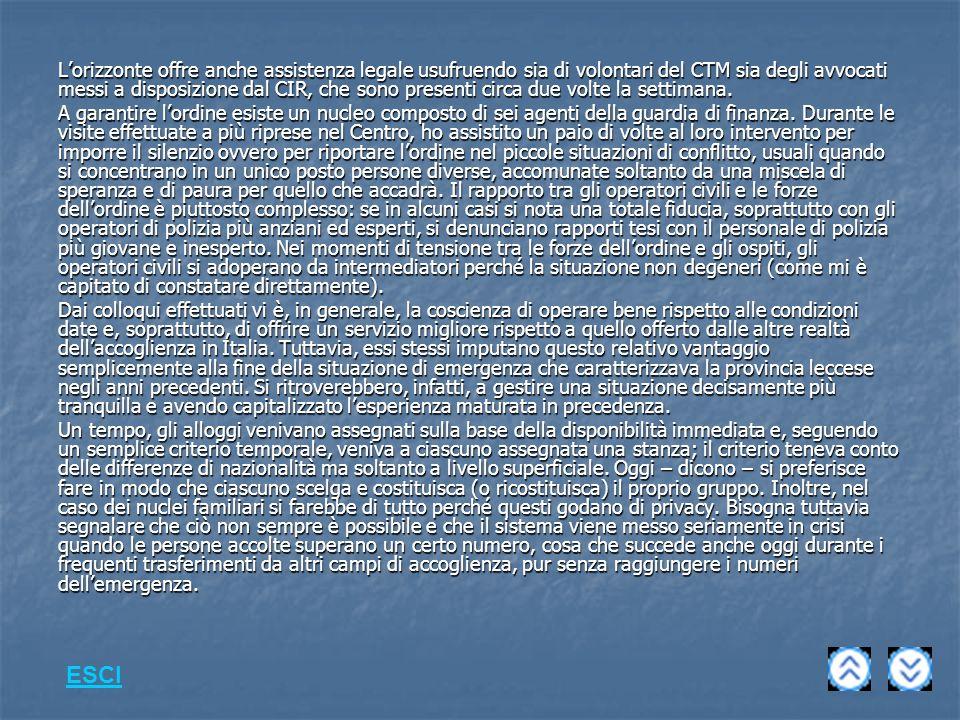 L'orizzonte offre anche assistenza legale usufruendo sia di volontari del CTM sia degli avvocati messi a disposizione dal CIR, che sono presenti circa due volte la settimana.