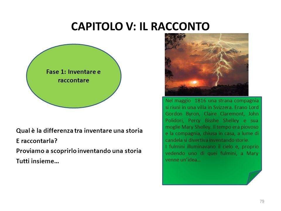 CAPITOLO V: IL RACCONTO