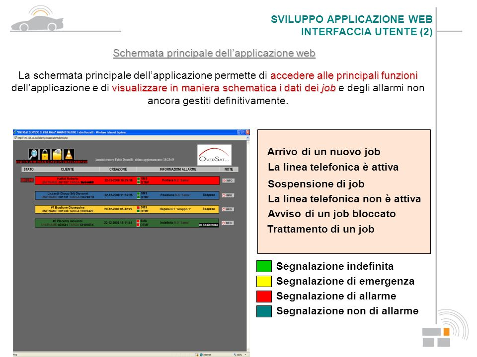 Schermata principale dell'applicazione web