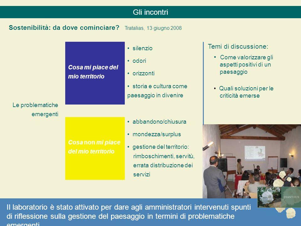 Gli incontri Sostenibilità: da dove cominciare Tratalias, 13 giugno 2008. Temi di discussione: