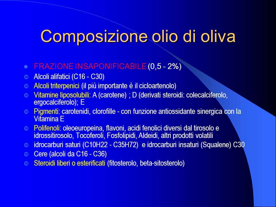 Composizione olio di oliva