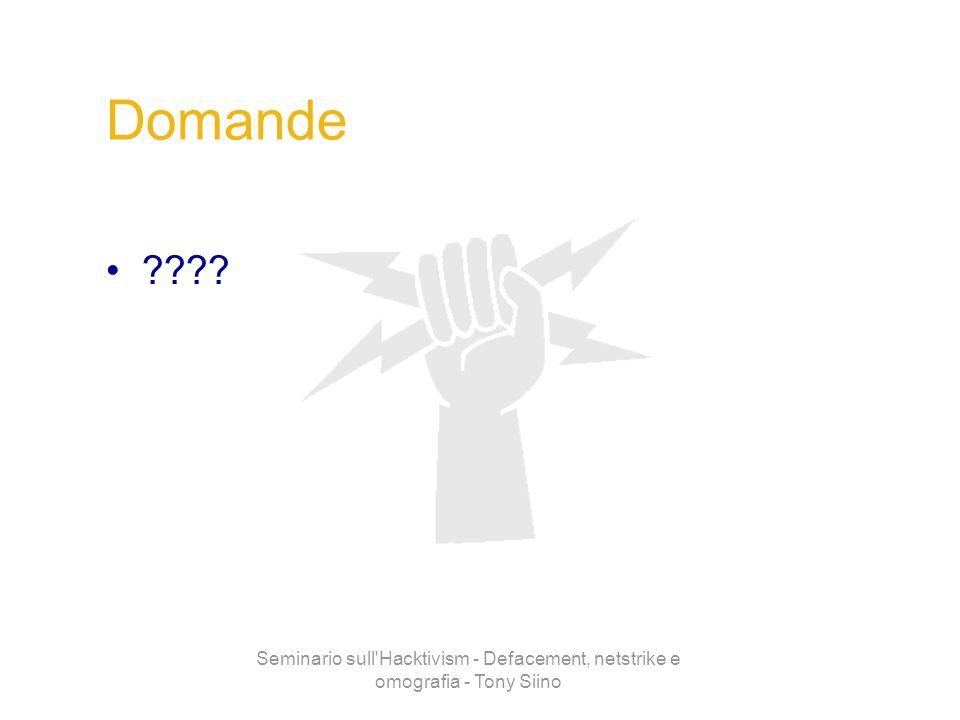 Domande Seminario sull Hacktivism - Defacement, netstrike e omografia - Tony Siino