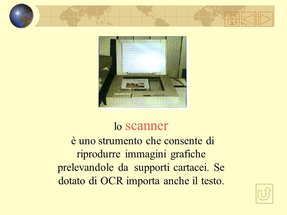 lo scanner è uno strumento che consente di riprodurre immagini grafiche prelevandole da supporti cartacei.