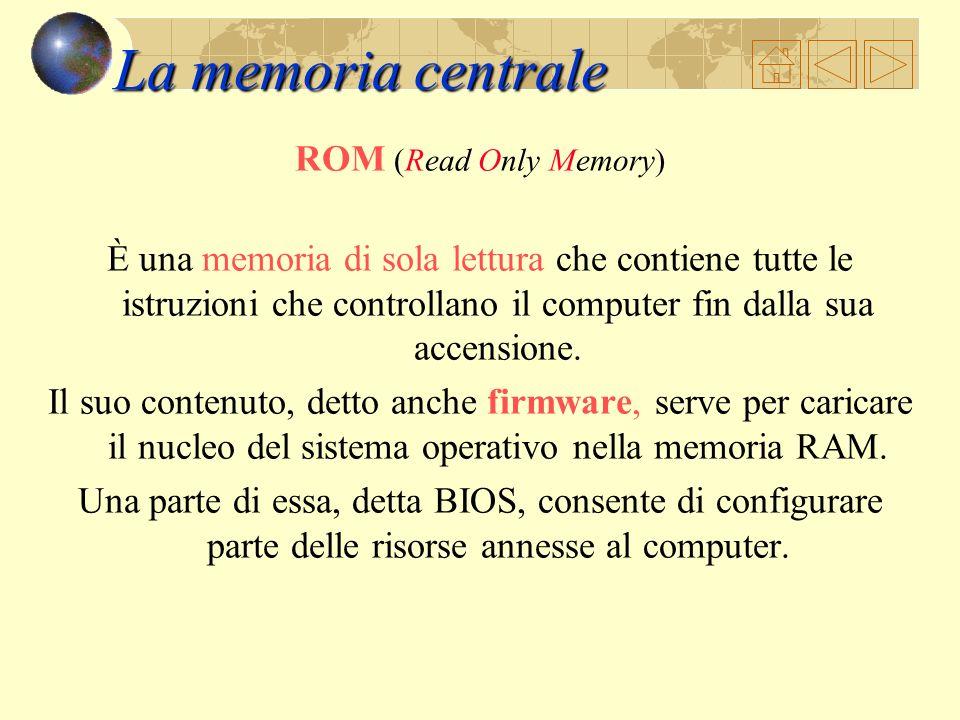 La memoria centrale ROM (Read Only Memory)