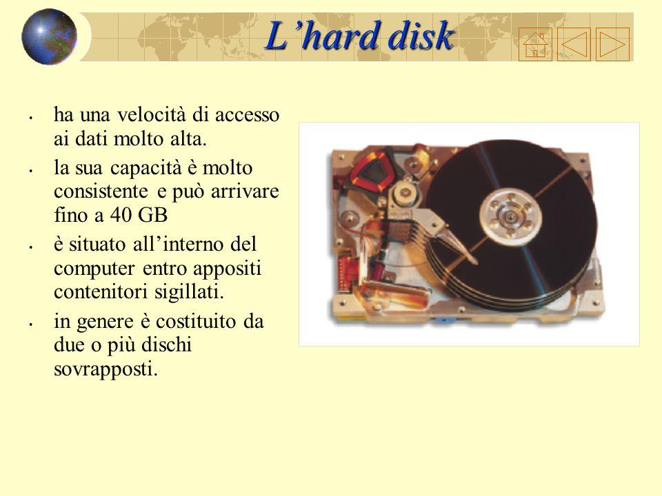 L'hard disk ha una velocità di accesso ai dati molto alta.