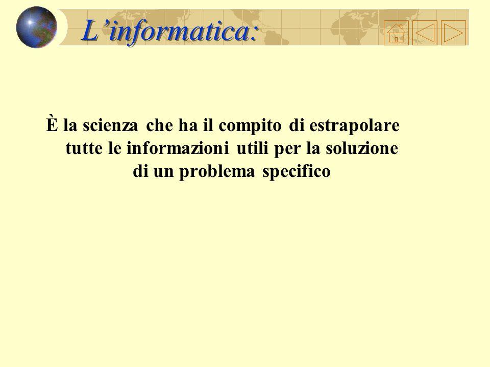 L'informatica: È la scienza che ha il compito di estrapolare tutte le informazioni utili per la soluzione di un problema specifico.