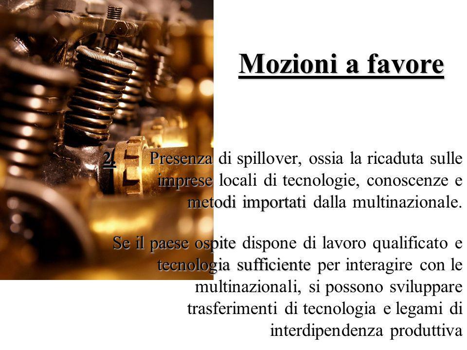 Mozioni a favore 2. Presenza di spillover, ossia la ricaduta sulle imprese locali di tecnologie, conoscenze e metodi importati dalla multinazionale.