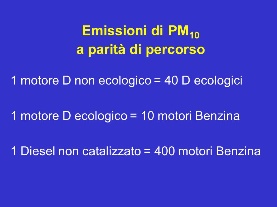 Emissioni di PM10 a parità di percorso