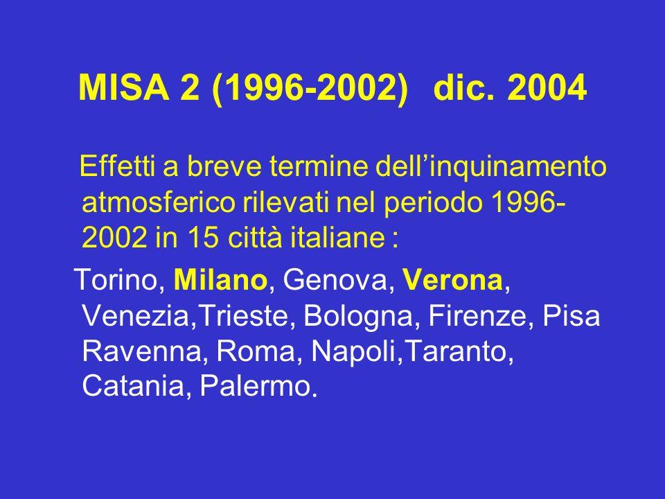 MISA 2 (1996-2002) dic. 2004 Effetti a breve termine dell'inquinamento atmosferico rilevati nel periodo 1996-2002 in 15 città italiane :
