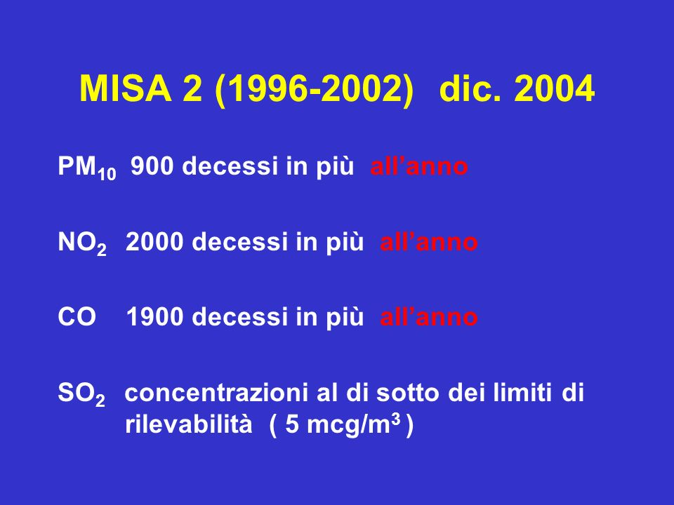 MISA 2 (1996-2002) dic. 2004 PM10 900 decessi in più all'anno