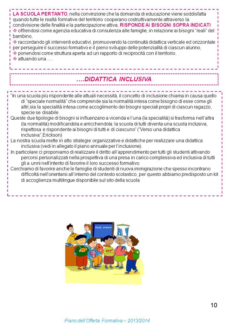 LA SCUOLA PERTANTO, nella convinzione che la domanda di educazione viene soddisfatta quando tutte le realtà formative del territorio cooperano costruttivamente attraverso la condivisione delle finalità e la partecipazione attiva, RISPONDE AI BISOGNI SOPRA INDICATI:
