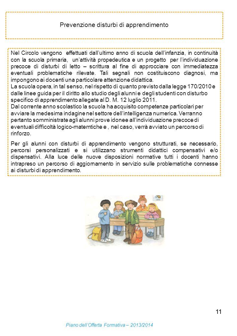 Prevenzione disturbi di apprendimento